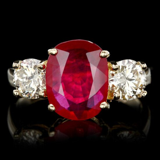 14k Yellow Gold 3.00ct Ruby 1.15ct Diamond Ring