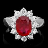 14k White Gold 3.40ct Ruby 1.00ct Diamond Ring