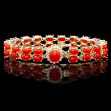 14k Gold 27ct Coral 0.70ct Diamond Bracelet