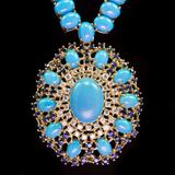 95.85ct Turquoise, 3.35ct Sapphire 1.78ct Diamond Necklace