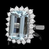 14k Gold 6.00ct Aquamarine 0.95ct Diamond Ring