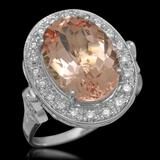 14K Gold 5.97ct Morganite 0.52ct Diamond Ring
