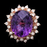 14k Rose Gold 8.50ct Amethyst 1.00ct Diamond Ring