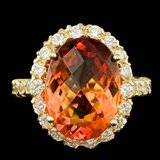 14k Gold 7.00ct Citrine 1.35ct Diamond Ring