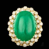 14k Yellow Gold 13.50ct Jade 1.30ct Diamond Ring