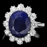 14k Gold 5.00ct Sapphire 1.25ct Diamond Ring
