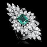 14K Gold 2.15ct Emerald 3.28ct Diamond Ring