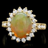 14k Yellow Gold 3ct Opal 1ct Diamond Ring