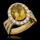 14K Gold 3.61ct Yellow Beryl & 1.54ct Diamond Ring