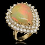 14K Gold 9.62ct Opal & 3.50ct Diamond Ring