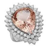 14K Gold 12.28ct Morganite 2.71ct Diamond Ring