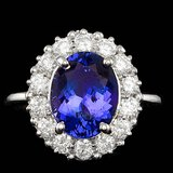 14k Gold 4.00 Ct Tanzanite 1.00ct Diamond Ring