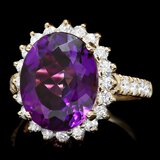 14k Gold 6.50ct Amethyst 1.10ct Diamond Ring