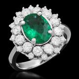 14K Gold 1.65ct Emerald 1.43ct Diamond Ring