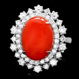 14k White Gold 5.50ct Coral 1.60ct Diamond Ring