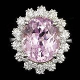 14k Gold 10.00ct Kunzite 1.70ct Diamond Ring