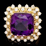 14k Gold 7.30ct Amethyst 1.00ct Diamond Ring
