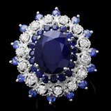 14k White Gold 9ct Sapphire 0.90ct Diamond Ring