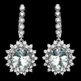 14k 8.50ct Aquamarine 2.00ct Diamond Earrings
