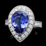 14k Gold 4.00ct Tanzanite 1.15ct Diamond Ring