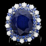 14k Gold 16.4ct Sapphire 1.00ct Diamond Ring