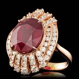 14k Rose Gold 11.00ct Ruby 2.10ct Diamond Ring