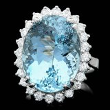 14k Gold 13.50ct Aquamarine 1ct Diamond Ring