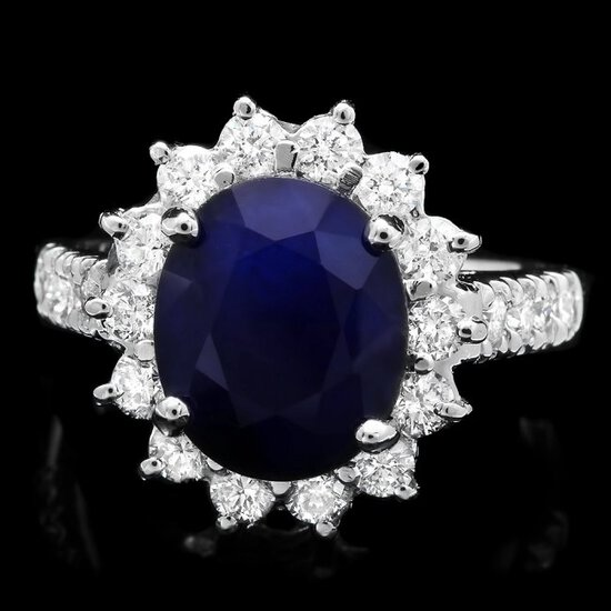 14k Gold 4.80ct Sapphire 1.10ct Diamond Ring