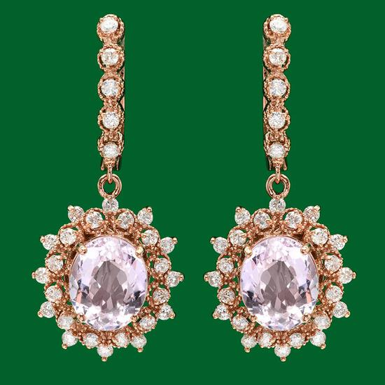 14k Gold 7.93 Kunzite 1.70ct Diamond Earrings