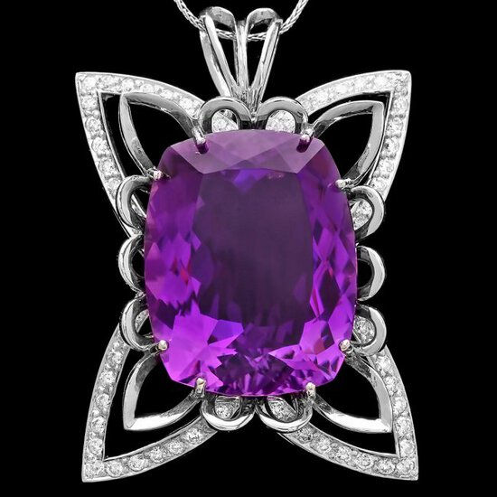 14k Gold 40ct Amethyst 1.45ct Diamond Pendant