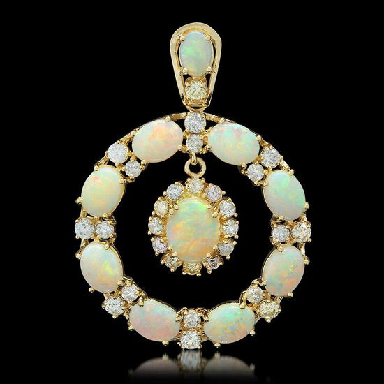 14K Gold 7.43ct Opal 2.42ct Diamond Pendant