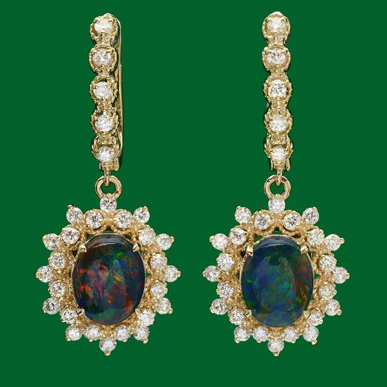 14k Gold 3.62ct Opal 1.60ct Diamond Earrings