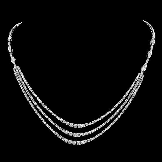 18K Gold 11.20ct Diamond Necklace