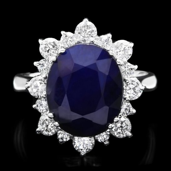 14k Gold 7.00ct Sapphire 1.00ct Diamond Ring