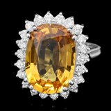 14k Gold 7.50ct Sapphire 0.80ct Diamond Ring