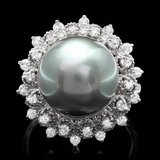 14k White Gold 13mm Pearl 0.60ct Diamond Ring