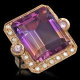 14K Gold 25.07ct Ametrine 0.40ct Sapphire 1.00ct Diamond Ring