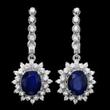 14k Gold 7.00ct Sapphire 1.80ct Diamond Earrings