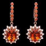 14k Rose 6.00ct Citrine 1.30ct Diamond Earrings