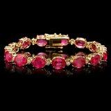 14k Gold 35.00ct Ruby 1.15ct Diamond Bracelet
