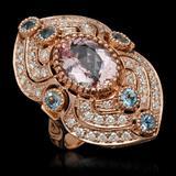 14K Gold 4.38ct Kunzite, 0.84ct Aquamarine & 1.35ct Diamond Ring