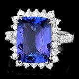 18k Gold 6.50ct Tanzanite 1.10ct Diamond Ring