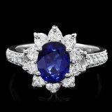 14k Gold 1.70ct Sapphire 1.20ct Diamond Ring