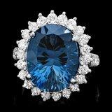 14k White Gold 11.50ct Topaz 1.65ct Diamond Ring
