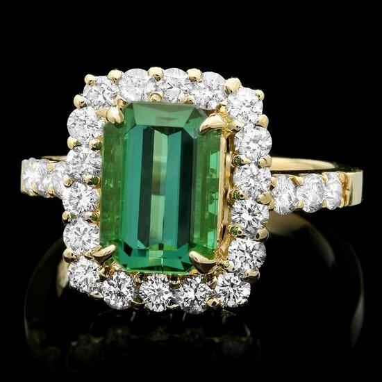 14k Gold 3.50ct Tourmaline 1.10ct Diamond Ring