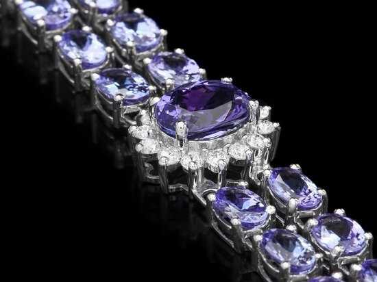 14k Gold 22ct Tanzanite 1.50ct Diamond Bracelet