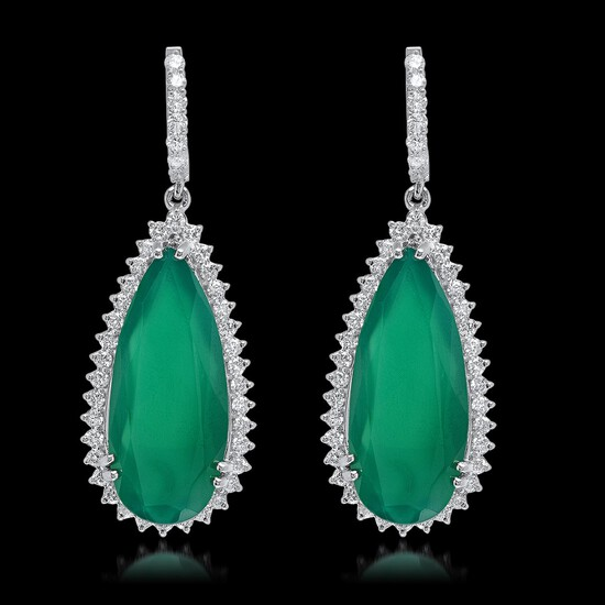 14K White Gold, 25.50cts Chalcedony & 2.91cts. Diamond Earrings