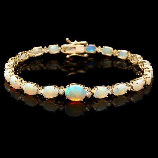 14k Gold 7.00ct Opal 0.50ct Diamond Bracelet
