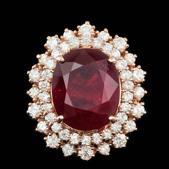 14k Rose Gold 8.50ct Ruby 1.50ct Diamond Ring