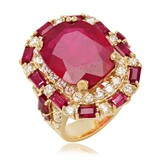 14K Yellow Gold, 16.00.cts Ruby, 2.85cts Diamond Ring